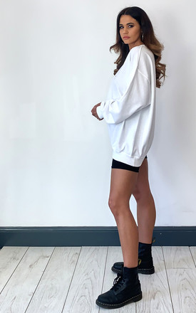 Pharaoh London embroidered oversized long sleeve jumper white by Pharaoh London