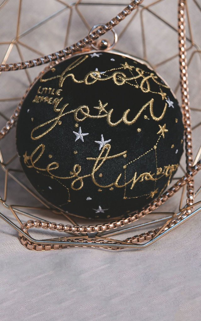 Destiny Velvet Globe Bag Black by Luna Charles