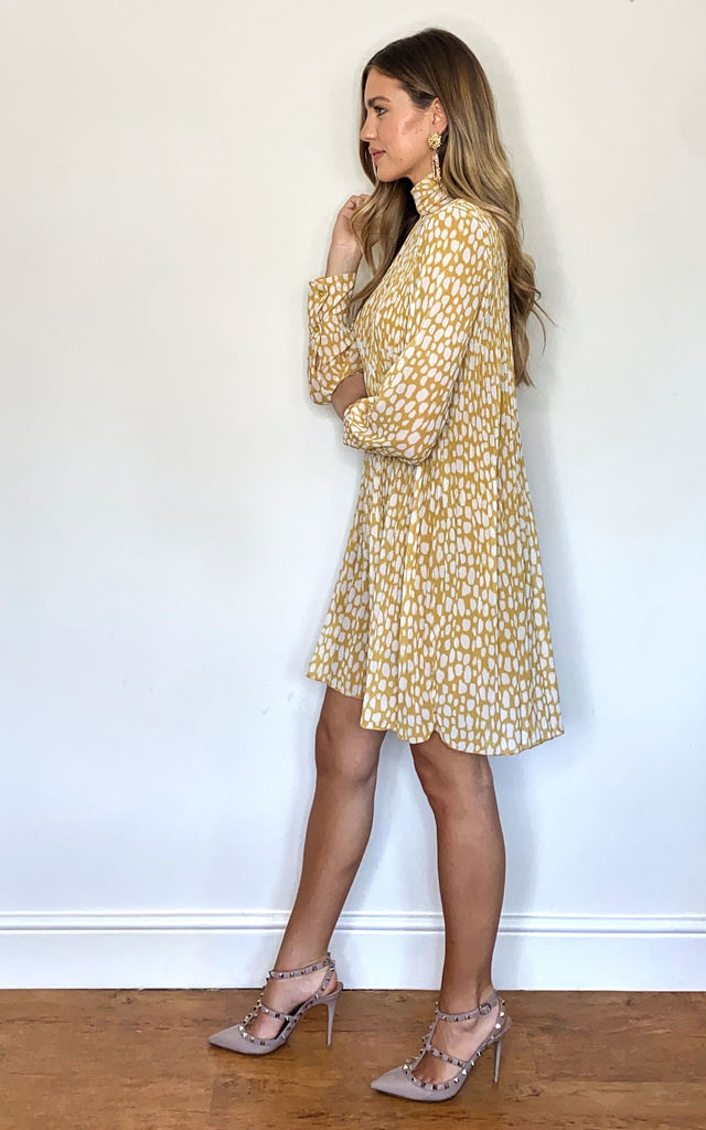 High Neck Pleated Mini Dress In Yellow by KURT MULLER