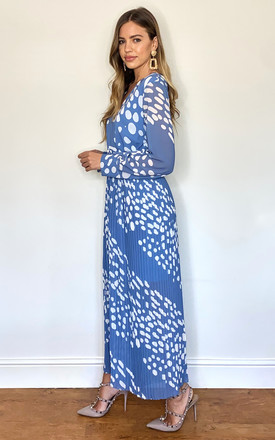 Polka Dot Belted Jumpsuit In Blue & White by KURT MULLER