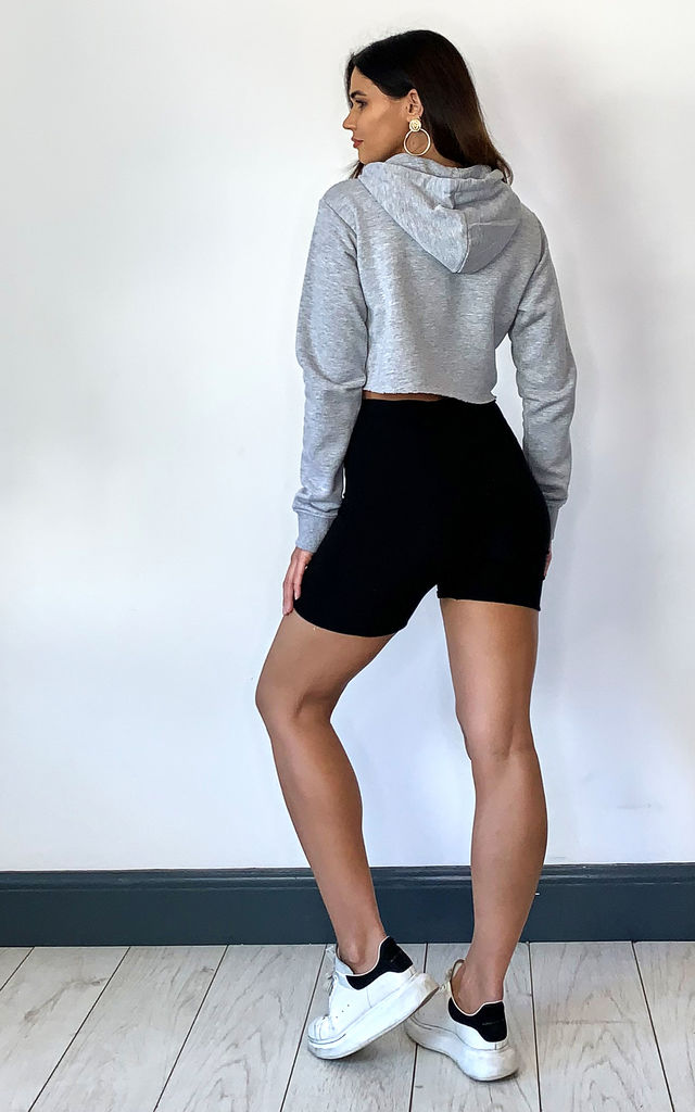 PLAIN HOODIE CROPPED IN GREY MARL by Off The Railz