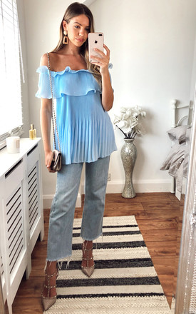 Ruffle Bardot Blouse In Sky Blue by KURT MULLER Product photo