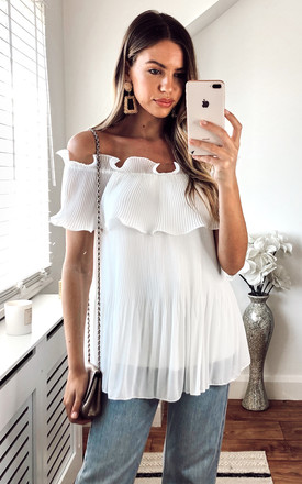 Ruffle Bardot Blouse In White by KURT MULLER Product photo