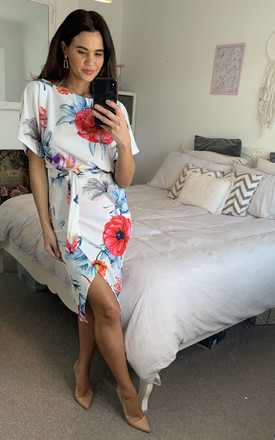 Leona Judith Batwing Wrap Dress In Ivory Floral by Missfiga Product photo