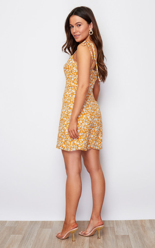 Sienna Cup Detail Tie Strap Ditsy Mini Dress Yellow by Girl In Mind