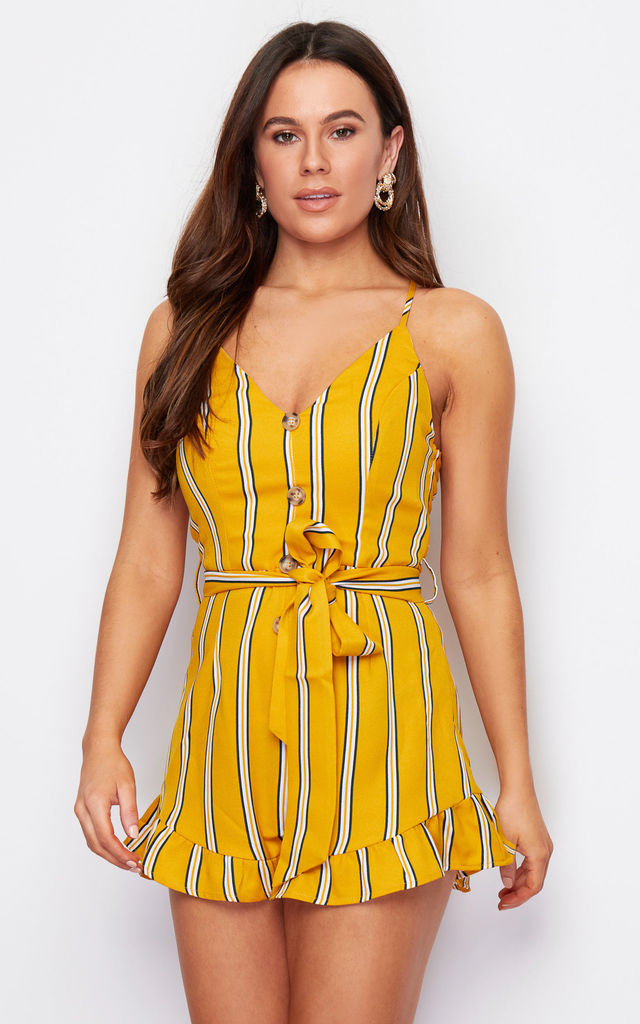 Cali Button Front Frill Short Playsuit Yellow Stripe by Girl In Mind