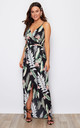 Mia Wrap Maxi Dress Black Green Tropical Print by Girl In Mind