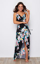 Mia Wrap Maxi Dress Black/Blue Floral Print by Girl In Mind