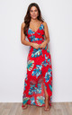 Mia Wrap Maxi Dress Red Tropical Print by Girl In Mind