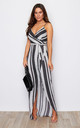 Mia Stripe & Spot Wrap Maxi Dress Black/White by Girl In Mind