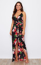Mia Wrap Maxi Dress Black/Red Floral Print by Girl In Mind
