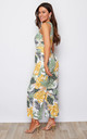 Amber Floral Print Culotte Jumpsuit Green Leaf Print by Girl In Mind