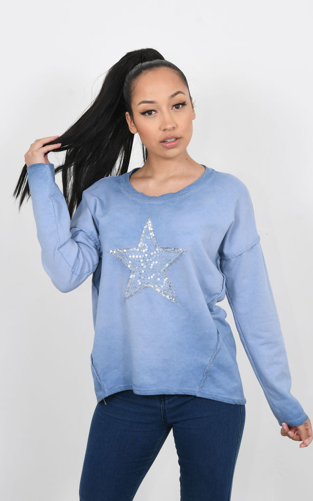 LONG SLEEVED TOP WITH STAR (Blue) by Lucy Sparks