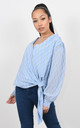 CROSS OVER CHIFFON TOP WITH GLITZY PRINT (Light Blue) by Lucy Sparks