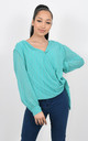 CROSS OVER CHIFFON TOP WITH GLITZY PRINT (Mint) by Lucy Sparks