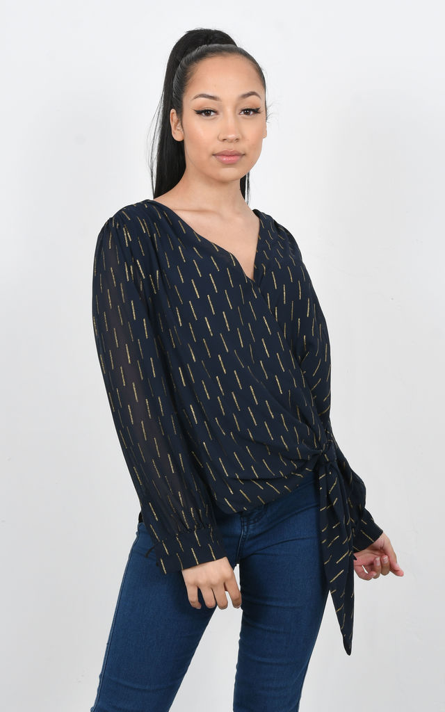 CROSS OVER CHIFFON TOP WITH GLITZY PRINT (Navy) by Lucy Sparks