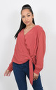 CROSS OVER CHIFFON TOP WITH GLITZY PRINT (Rust Red) by Lucy Sparks