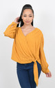 CROSS OVER CHIFFON TOP WITH GLITZY PRINT (Yellow) by Lucy Sparks
