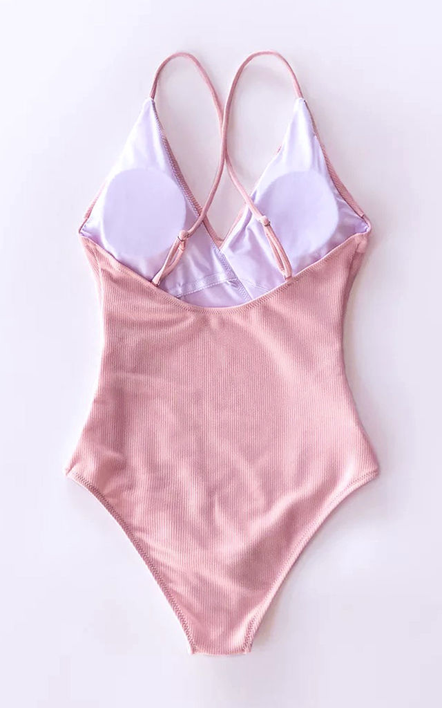 Ruffle Detail Swimsuit In Pink by FS Collection