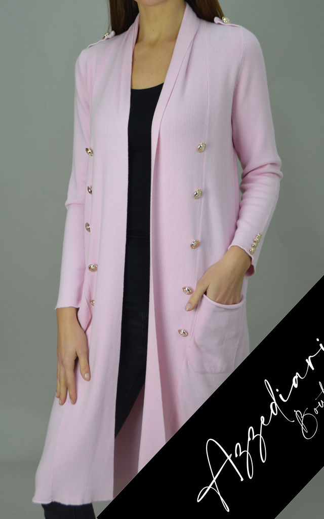 Baby Pink Gold Button Embellished Midi Cardigan | One Size by Azzediari Clothing
