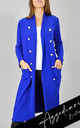 Royal Blue Gold Button Embellished Midi Cardigan | One Size by Azzediari Clothing