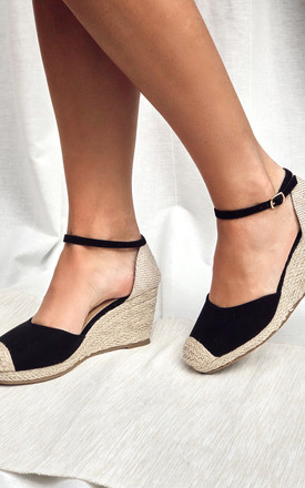 Black Closed Toe Espadrille Wedges by Truffle Collection Product photo