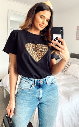 Black T Shirt With Leopard Heart Print by Fearless Alice Custom Product photo