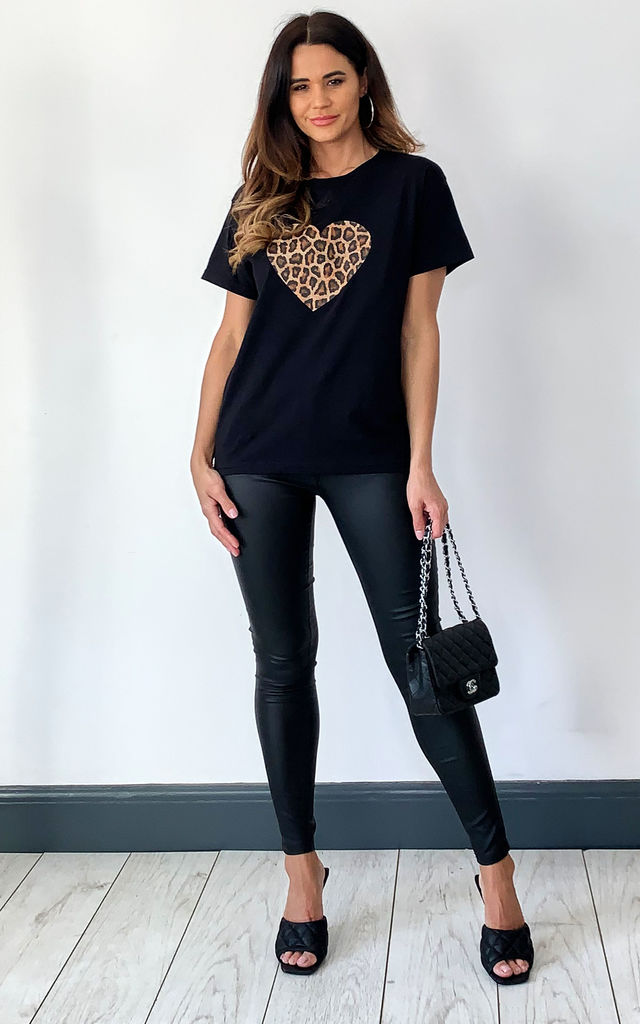 Black T-shirt with Leopard Heart Print by Fearless Alice Custom