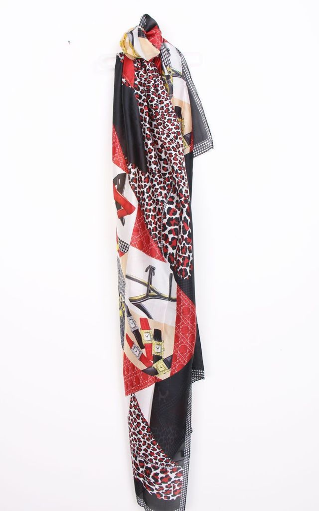 LARGE SILKY DESIGNER LEOPARD and CHAIN PRINT SCARF in Black/Red by LOES House