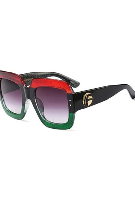 Chunky SQUARE LUXURY Stripe SUNGLASSES in Red/Green by LOES House
