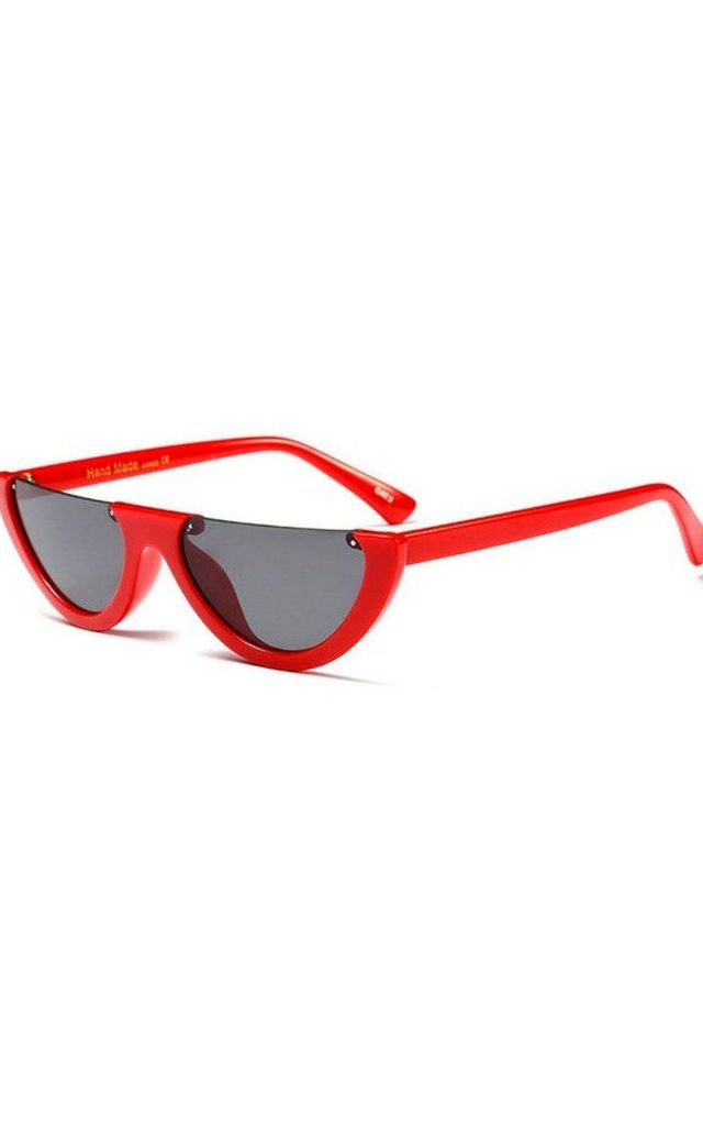 CELEB INSPIRED HALF FRAME CAT EYE SUNGLASSES in red by LOES House