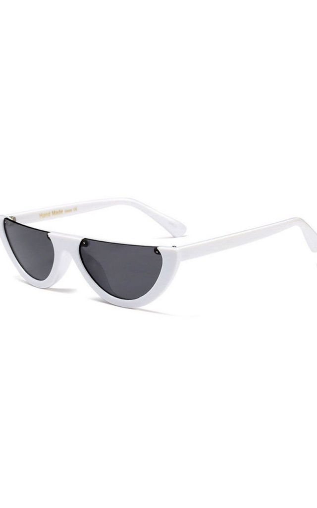 CELEB INSPIRED HALF FRAME CAT EYE SUNGLASSES in white by LOES House