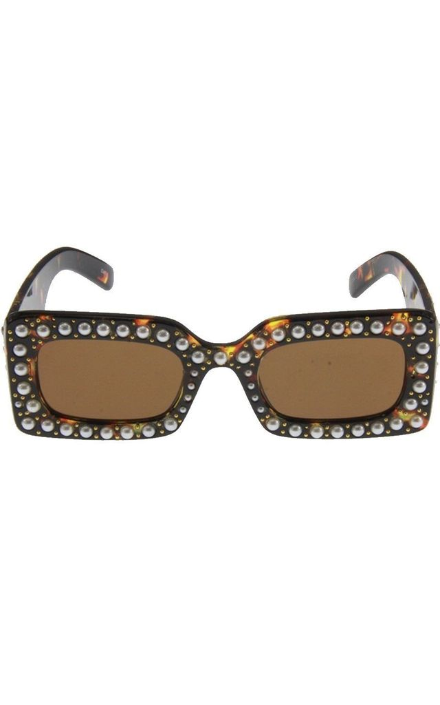 SQUARE SUNGLASSES WITH PEARL DETAIL IN TORTOISESHELL by LOES House