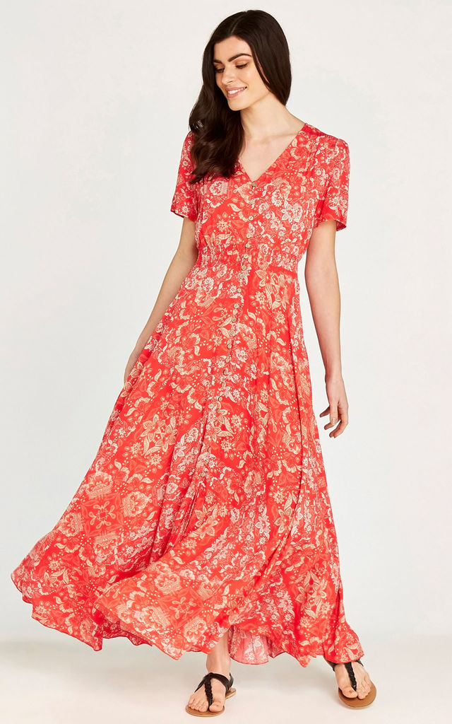 Orange Scarf Print Button Down Maxi Dress by APRICOT