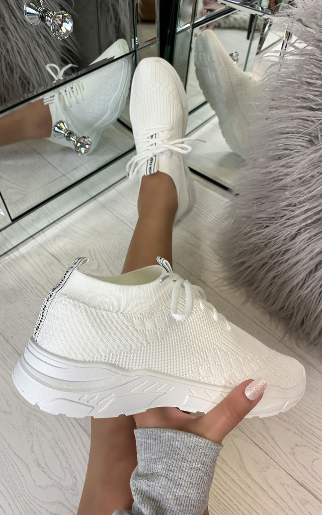 Chase The Sun Slip On Sock Trainers in White by Larena Fashion