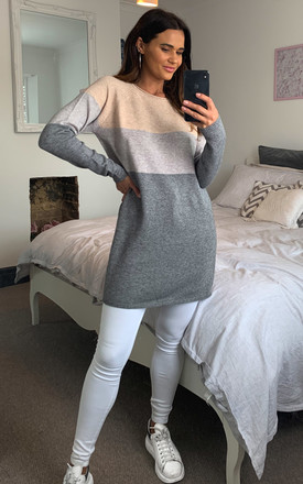 Mahogany Rose Colour Block Long Sleeve Jumper Dress by ONLY Product photo