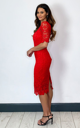 Red Floral Lace Dress by Mela London