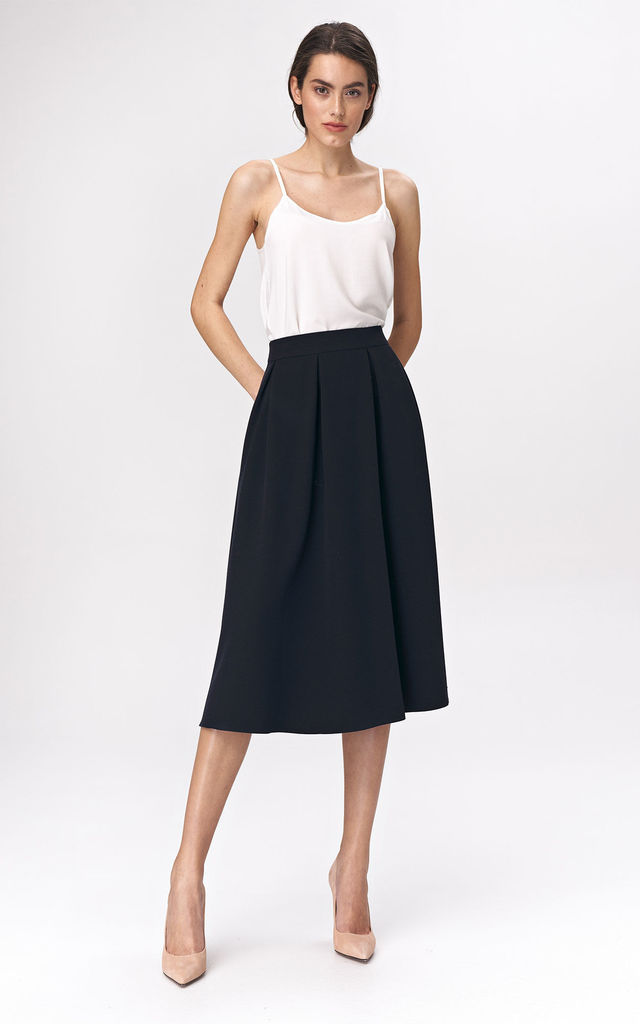 Flared Midi Skirt in Navy Blue by so.Nife