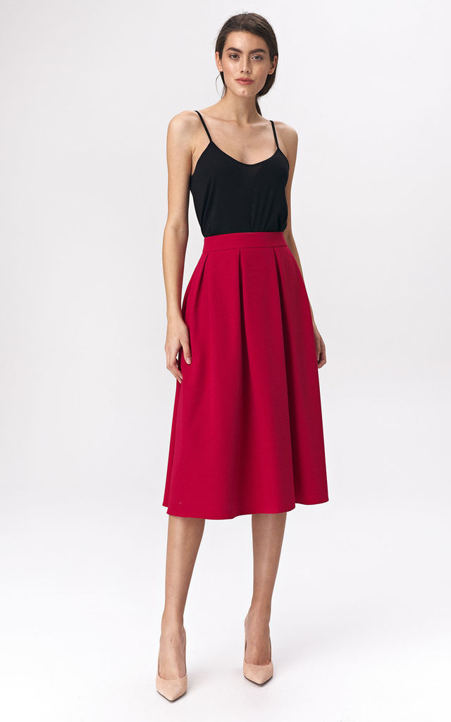 Flared Midi Skirt in Red by so.Nife