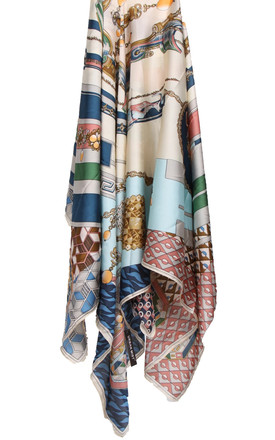 LARGE SQUARE SILKY MOSAIC JEWEL CHAIN PRINT SCARF in Beige by LOES House