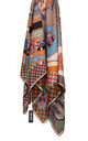 LARGE SQUARE SILKY MOSAIC JEWEL CHAIN PRINT SCARF in Mocha/Orange by LOES House
