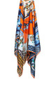 LARGE SQUARE SILKY MOSAIC JEWEL CHAIN PRINT SCARF in Orange/Blue by LOES House