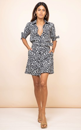 Jonah Mini Shirt Dress In Mono Leopard by Dancing Leopard Product photo
