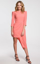 Wedding Guest Asymmetric Dress with 3/4 Sleeve in Orange by Dursi