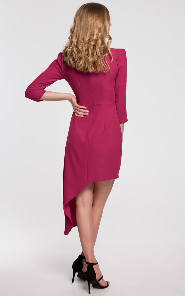 Wedding Guest Asymmetric Dress with 3/4 Sleeve in Plum by Dursi