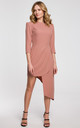 Wedding Guest Asymmetric Dress with 3/4 Sleeve in Rose by Dursi