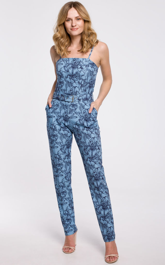 Jumpsuit on Straps in Blue Print by Dursi