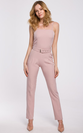 Pink Off Shoulder Jumpsuit with Belt by Dursi