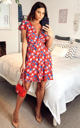 Red Floral Skater Dress by Mela London Product photo