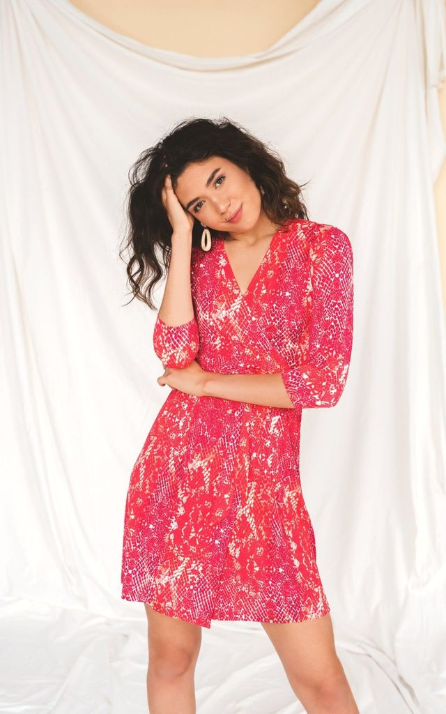 Mini Wrap Dress In Pink Snake Print by HAUS OF DECK